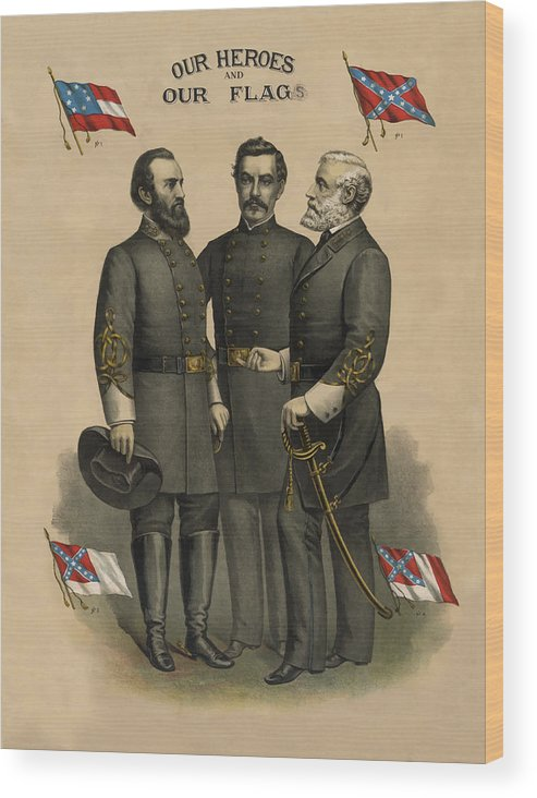 Confederate Wood Print featuring the painting Generals Jackson Beauregard and Lee by War Is Hell Store