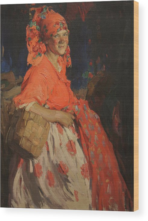 Abram Arkhipov Wood Print featuring the painting Girl by Abram Arkhipov