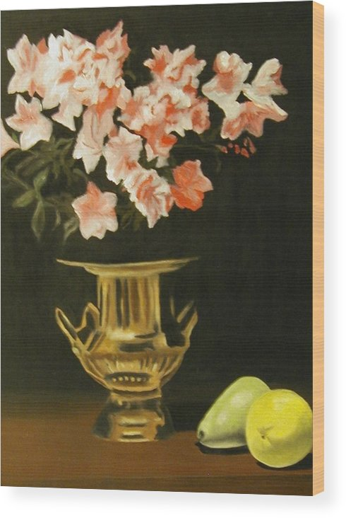 Still Life Wood Print featuring the painting Gold Vase with Fruit by Angelo Thomas