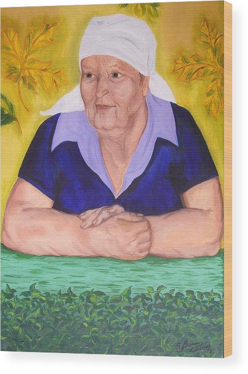 Art Wood Print featuring the painting Granny Katiya by Svetlana Vinokurtsev