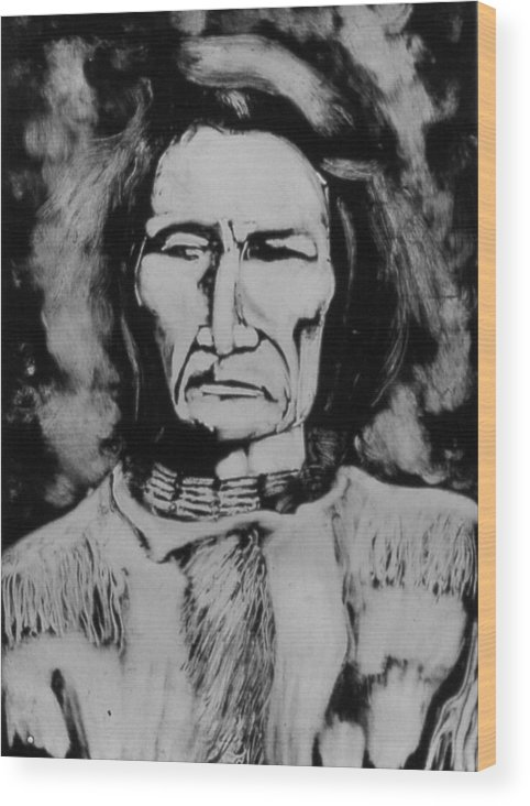 Western Art Wood Print featuring the drawing He Has Seen Many Changes by Dan RiiS Grife