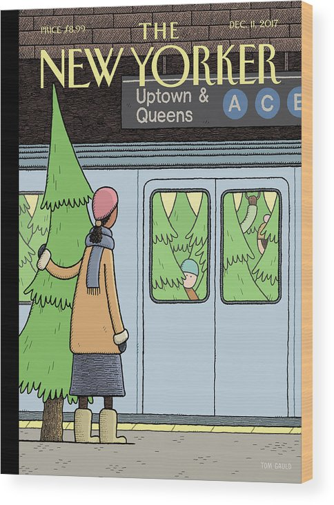 Holiday Track Wood Print featuring the painting Holiday Track by Tom Gauld