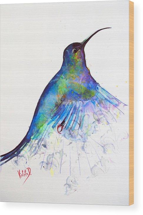 Hummingbird Wood Print featuring the painting Hummingbird 11 by Violeta Damjanovic-Behrendt