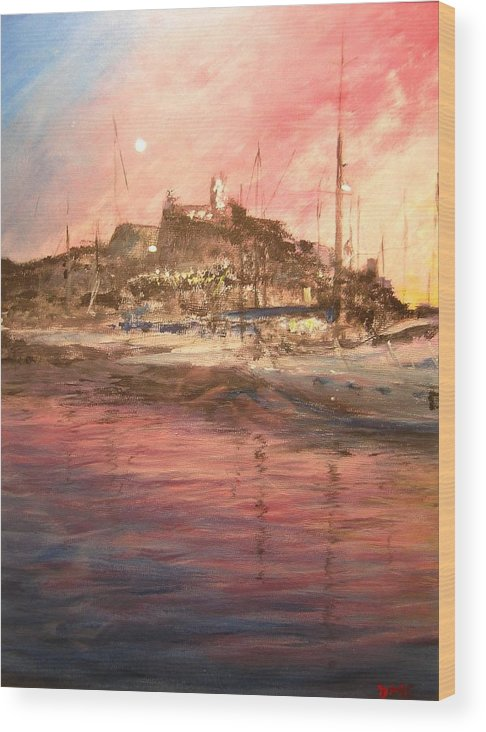 Yachts Wood Print featuring the painting Ibiza Old Town At Sunset by Lizzy Forrester