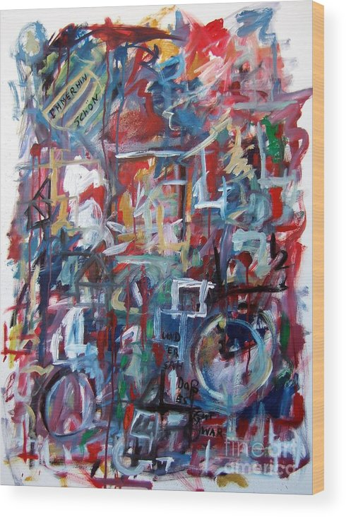 Abstract Wood Print featuring the painting Immerhin Schoen by Michael Henderson