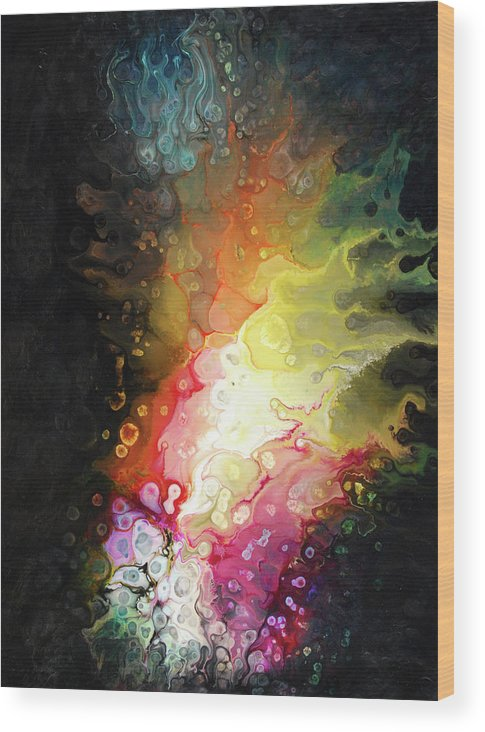 Abstract Wood Print featuring the painting Jeewanu by Dion Kurczek