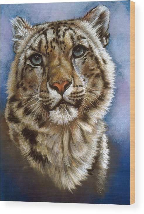 Snow Leopard Wood Print featuring the pastel Jewel by Barbara Keith