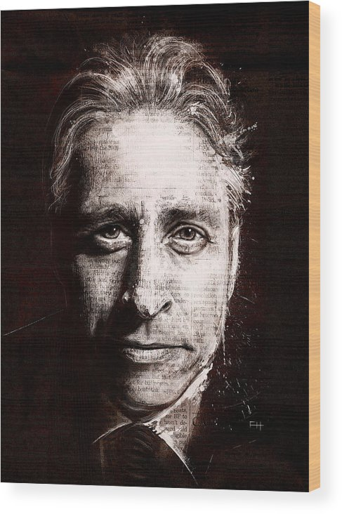 Comedy Wood Print featuring the painting Jon Stewart by Fay Helfer
