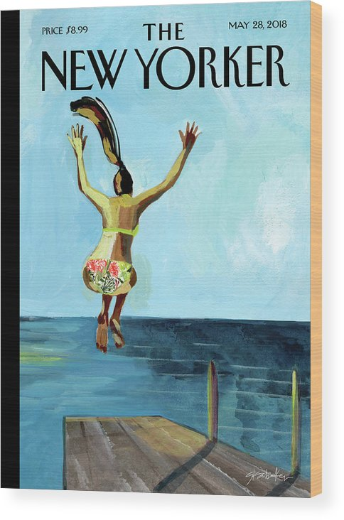 Jump! Wood Print featuring the painting Jump by Gayle Kabaker