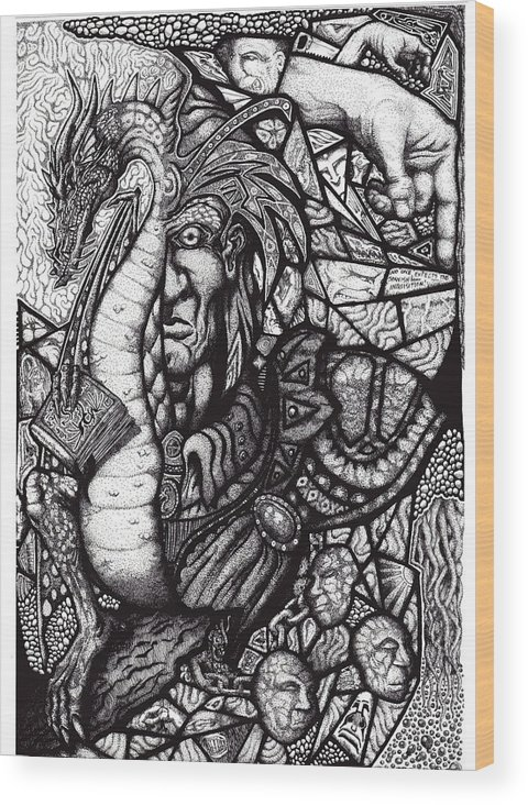 Pen And Ink Wood Print featuring the drawing Legend by Tobey Anderson