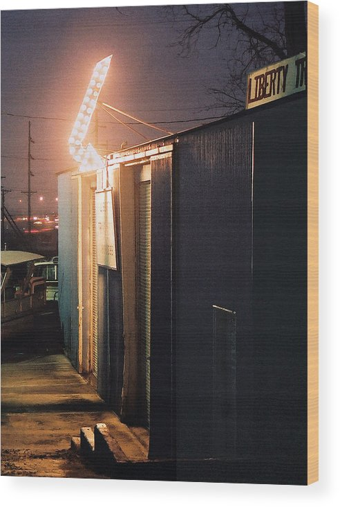 Night Scene Wood Print featuring the photograph Liberty by Steve Karol