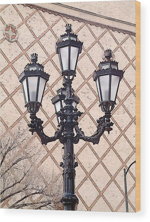 Urban Wood Print featuring the photograph Lightpost by Carl Perry