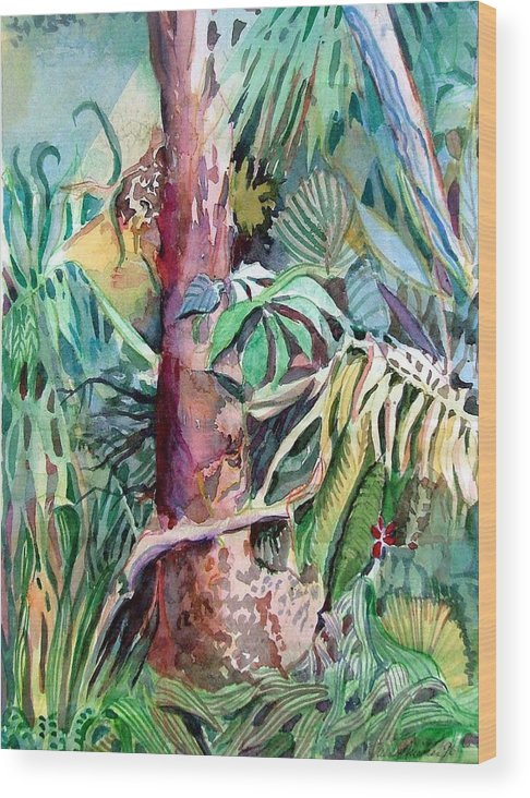Jungle Wood Print featuring the painting Lone Tree by Mindy Newman