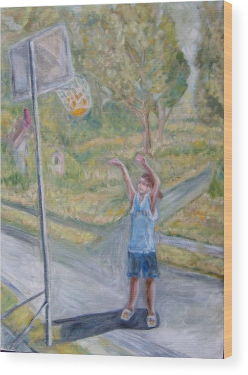 Basketball Landscape Portrait  Wood Print featuring the painting Making The Point by Joseph Sandora Jr
