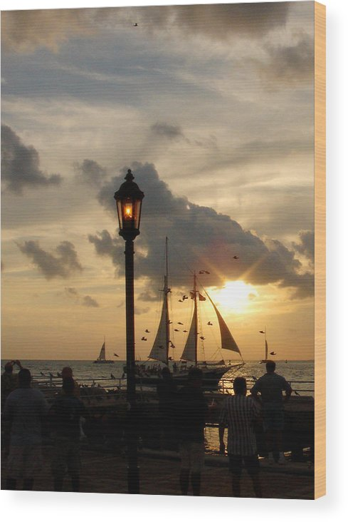 Photography Wood Print featuring the photograph Mallory Square Key West by Susanne Van Hulst