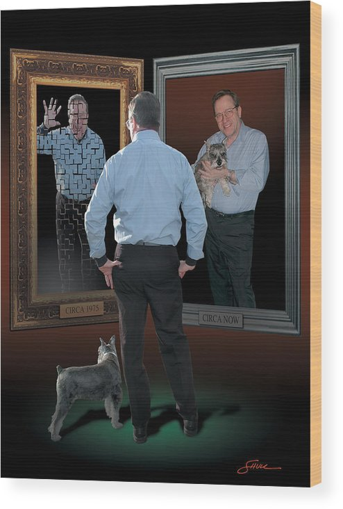 Harold Shull Wood Print featuring the digital art Man in the mirror by Harold Shull