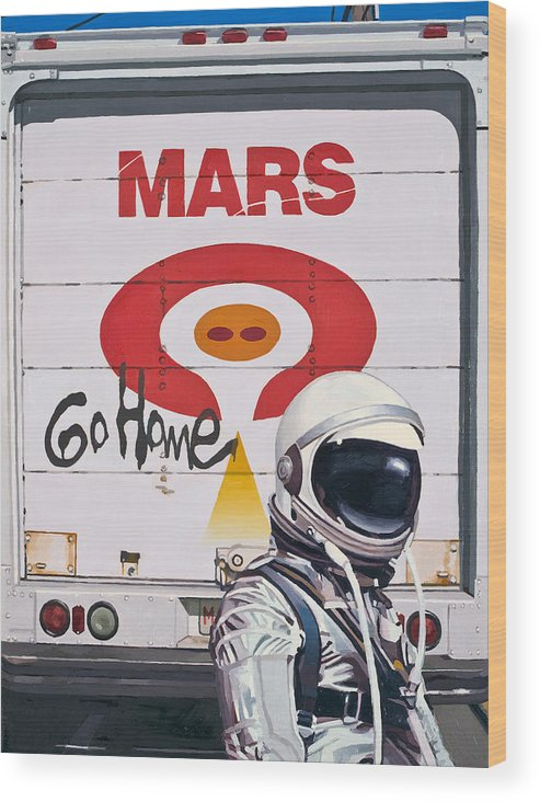 Astronaut Wood Print featuring the painting Mars Go Home by Scott Listfield