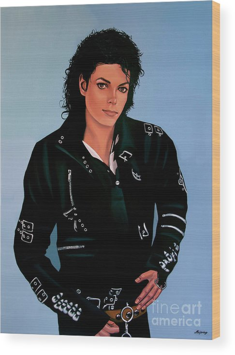 Michael Jackson Wood Print featuring the painting Michael Jackson Bad by Paul Meijering