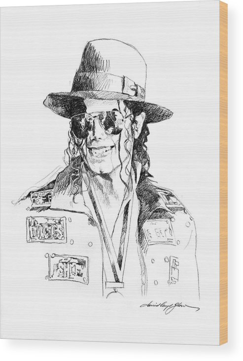 Michael Jackson Wood Print featuring the drawing Michael's Jacket by David Lloyd Glover