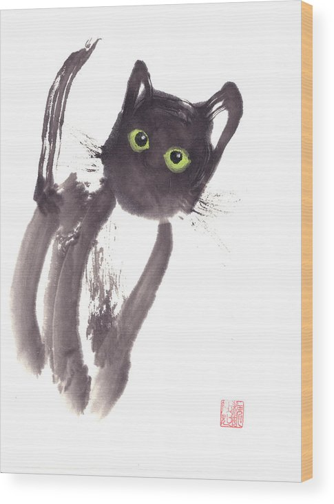 A Curious Black Kitten. This Is A Contemporary Chinese Ink And Color On Rice Paper Painting With Simple Zen Style Brush Strokes.  Wood Print featuring the painting Midnight by Mui-Joo Wee