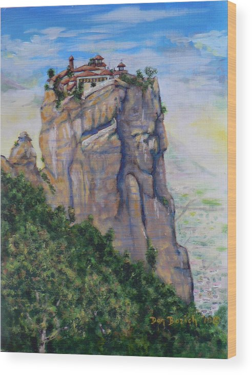 Monastery Wood Print featuring the painting Monastery of Aghia Triada by Dan Bozich