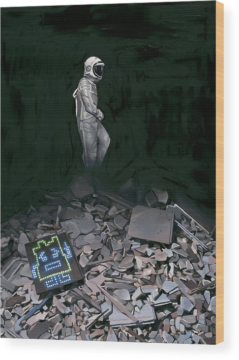 Astronaut Wood Print featuring the painting Mooninite by Scott Listfield