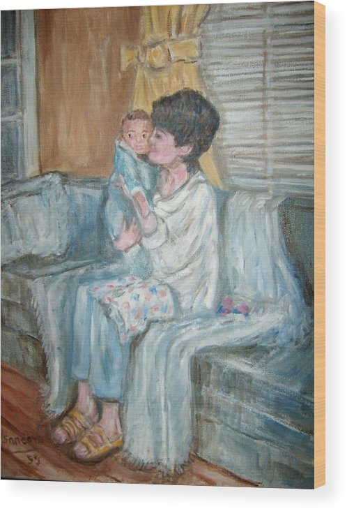 People Couch Window Child Portrait Wood Print featuring the painting Mother and Child r by Joseph Sandora Jr