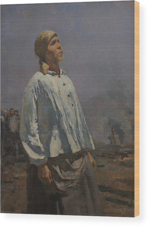 Russian Artist Wood Print featuring the painting Mother of Partisan by Sergey Gerasimov