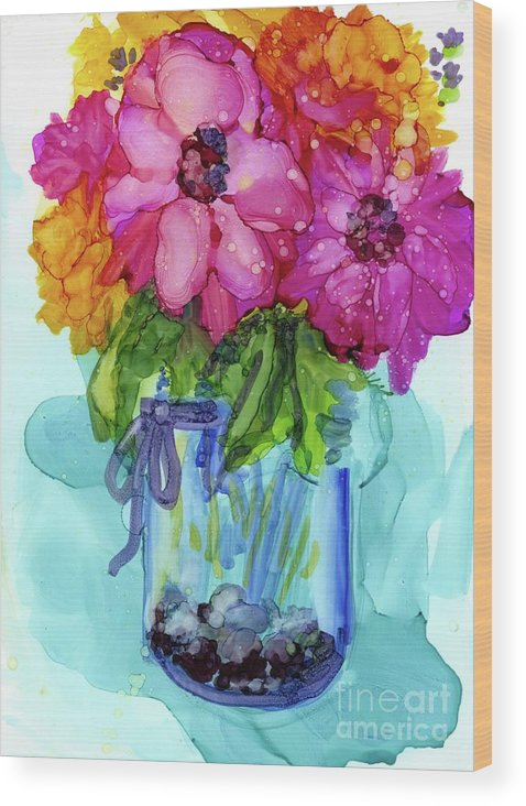 Flowers Wood Print featuring the mixed media Mother's Bouquet by Francine Dufour Jones