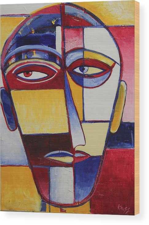 Face Wood Print featuring the painting Mr. Man by Rollin Kocsis