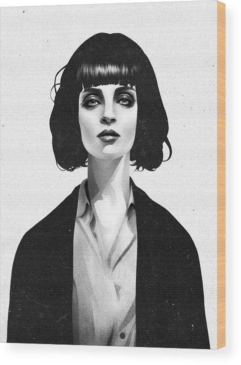 Mia Wood Print featuring the mixed media Mrs Mia Wallace by Ruben Ireland