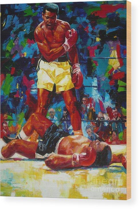 Ignatenko Wood Print featuring the painting Muhammad Ali by Sergey Ignatenko