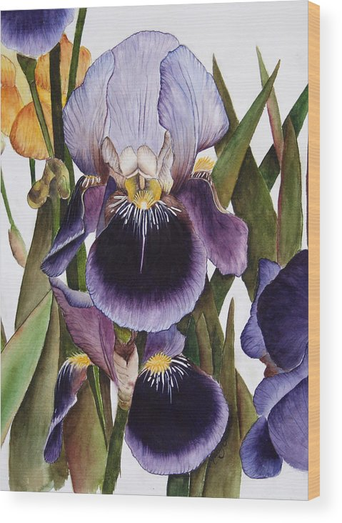 Iris Wood Print featuring the painting My Iris Garden by Mary Gaines