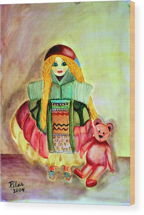 Wood Print featuring the painting My Russian Doll by Pilar Martinez-Byrne
