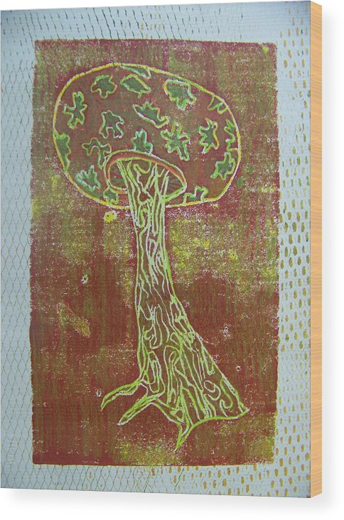 Organic Wood Print featuring the painting Myxomycetes 3 by Angela Dickerson