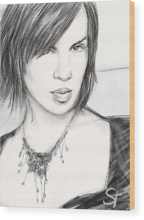 Portrait Wood Print featuring the digital art Necklace by Scott Waters