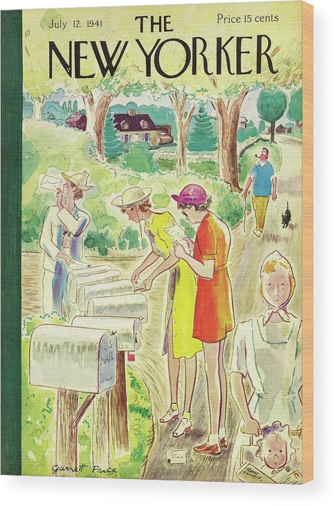Country Wood Print featuring the painting New Yorker July 12 1941 by Garrett Price