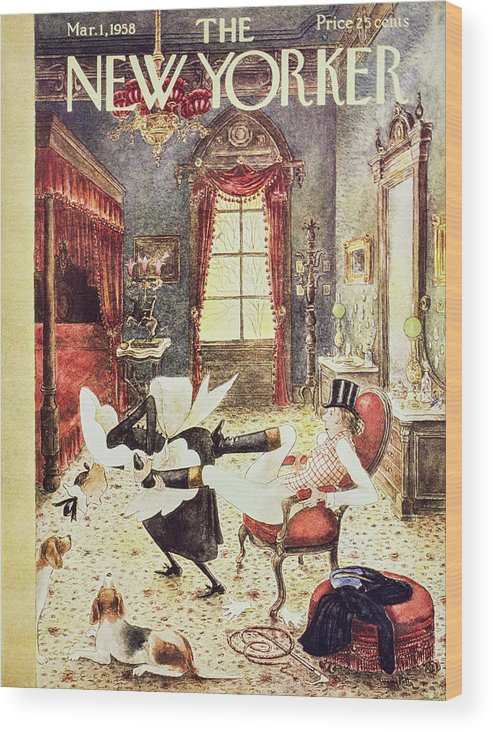 Maid Wood Print featuring the painting New Yorker March 1 1958 by Mary Petty