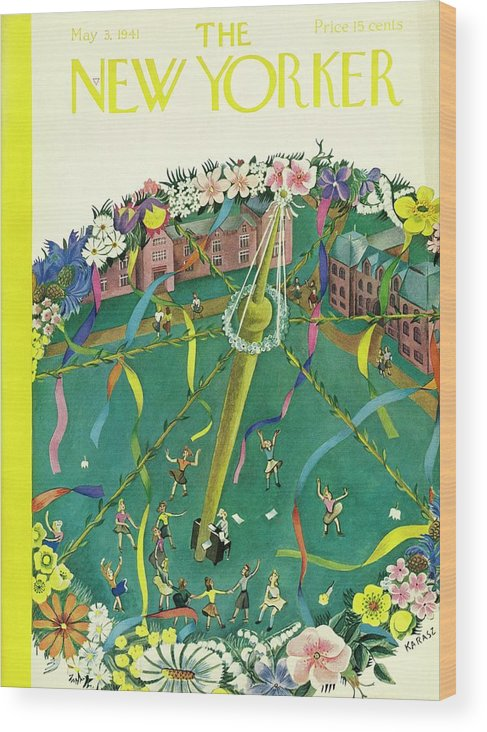 Spring Wood Print featuring the painting New Yorker May 3 1941 by Ilonka Karasz