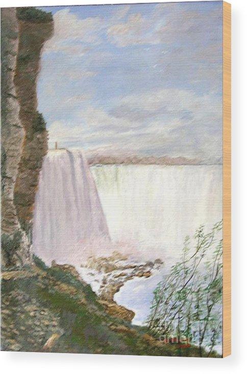 Landscape Painting Niagra Falls Wood Print featuring the painting Niagara Falls by Nicholas Minniti