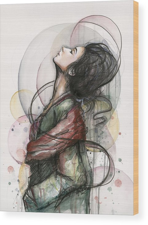 Watercolor Wood Print featuring the painting Beautiful Lady by Olga Shvartsur