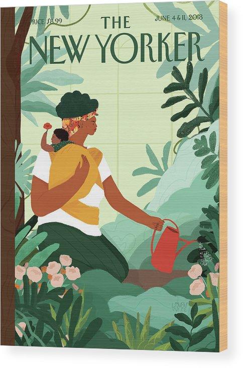 Nurture Wood Print featuring the painting Nurture by Loveis Wise