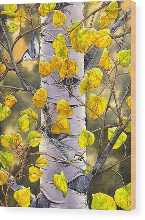Nuthatch Wood Print featuring the painting Nuthatches by Catherine G McElroy