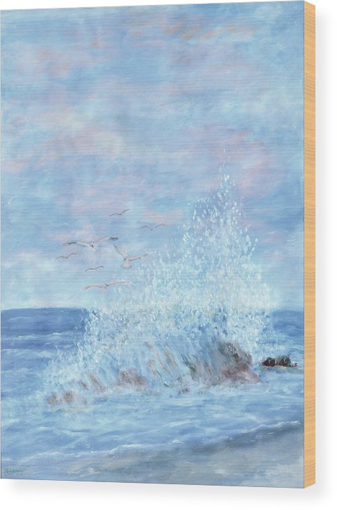 Gulls Wood Print featuring the painting Ocean Spray by Ben Kiger
