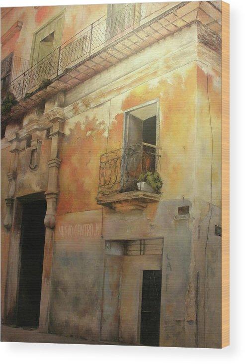 Havana Cuba Wood Print featuring the painting Old Havana by Tomas Castano