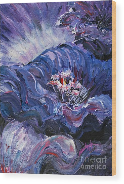 Blue Wood Print featuring the painting Passion in Blue by Nadine Rippelmeyer