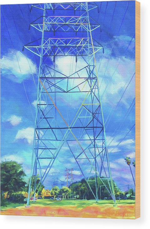 Power Tower Wood Print featuring the painting Peaceful by Bonnie Lambert