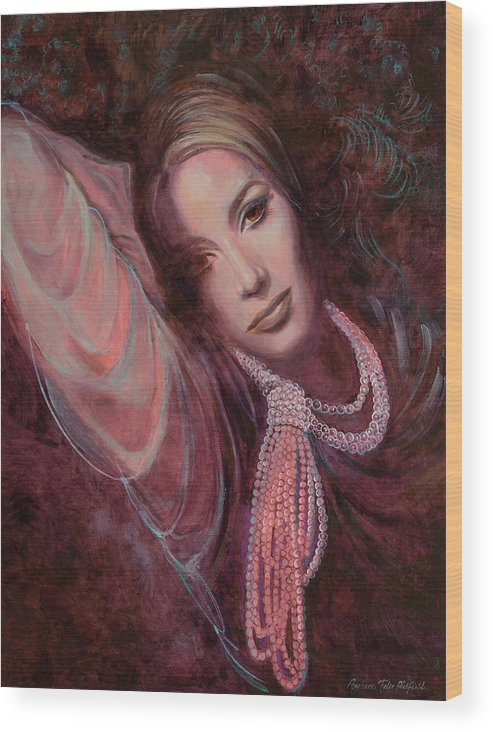 Fashion Illustration Wood Print featuring the painting Pearls on Rorie by Barbara Tyler Ahlfield