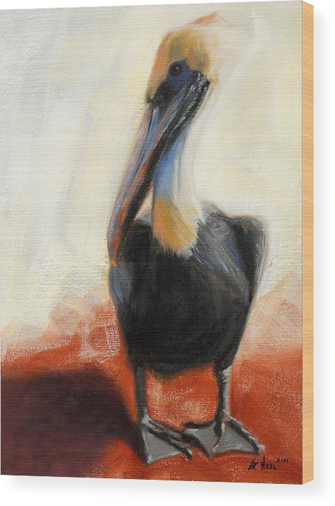 Pelican Wood Print featuring the painting Pelican Study by Greg Neal