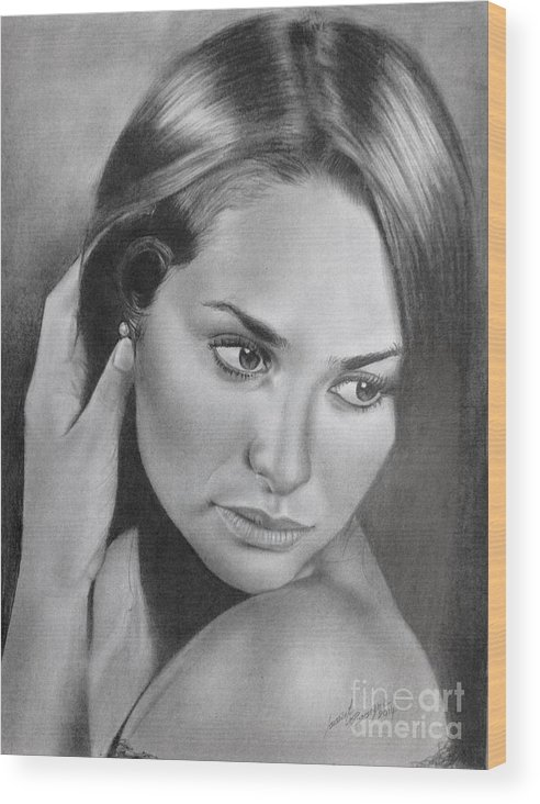 Pencil Drawing Beautiful Girl Wood Print By Imad Elm